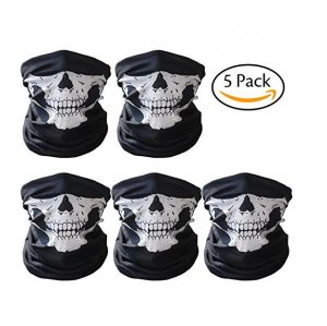 CandyHome 5 Pack Seamless Skull Mask Motorcycle Bicycle Half Face Tube Skeleton Mask for Halloween - Black