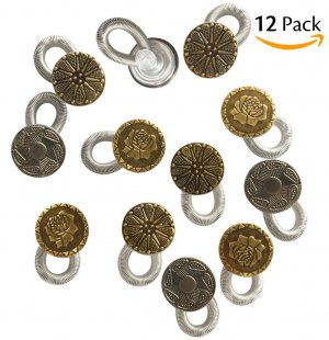 CandyHome CandyHome 12 Pcs No Sew Elastic Spring Brass Metal Button Pant Extenders Jeans Collar Button Pant Extender